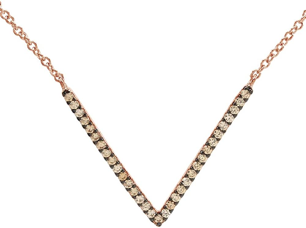 Wishrocks Round Cut Yellow Cubic Zirconia V Pendant Necklace in 14K Rose Gold Over Sterling Silver