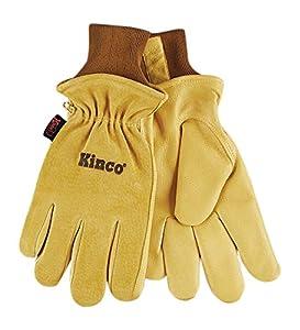 KINCO 94HK-L Men's Lined Grain Suede Pigskin Gloves, Heat Keep Lining, Large, Golden