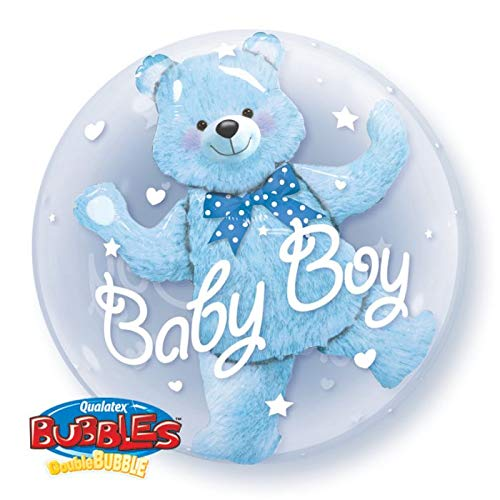 (Baby Boy Blue Bear Double Bubble 24'' Balloon Baby Shower Birthday Party Decorations Supplies)