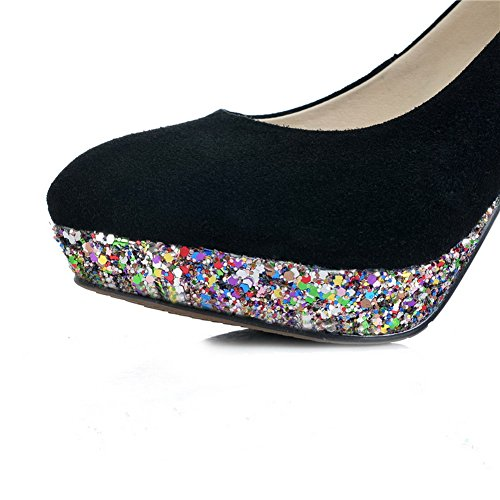 VogueZone009 Womens Closed Round Toe High Heel Platform Frosted Solid Pumps Black jOpjO8