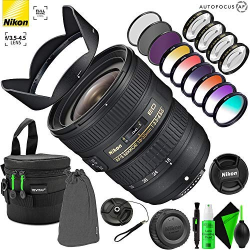 Nikon AF-S NIKKOR 18-35mm f/3.5-4.5G ED Lens with Creative Filter Kit and Pro Cleaning Accessories (Best Walk Around Lens For Nikon D600)