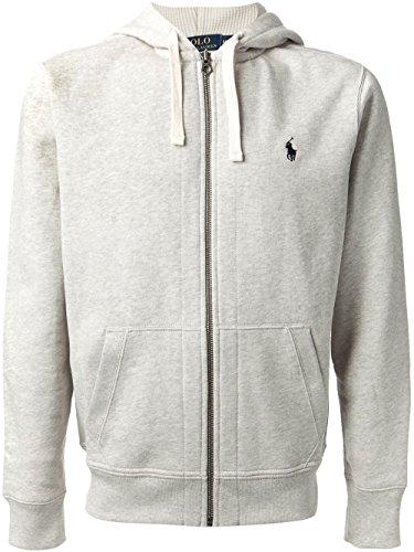 Polo Ralph Lauren Signature Classic Full-Zip Fleece Hooded Sweatshirt (Small, Heather Grey)
