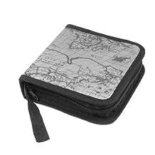 World Map Print Square Zipper 40 Capacity CD DVD Wallet Case Holder Gray