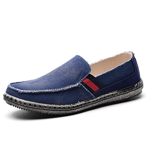 LANCROP Men's Slip On Shoes - Casual Lightweight Canvas Deck Boat Loafers Flat
