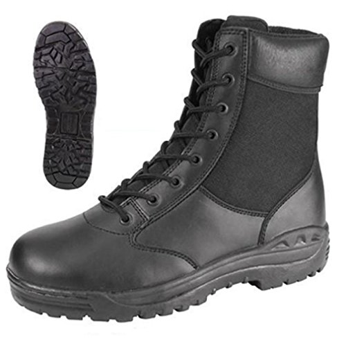 [EMT EMS PARAMEDIC FIRST RESPONDER POLICE BLACK 8'' LEATHER TACTICAL BOOTS] (Meteor Man Halloween Costume)