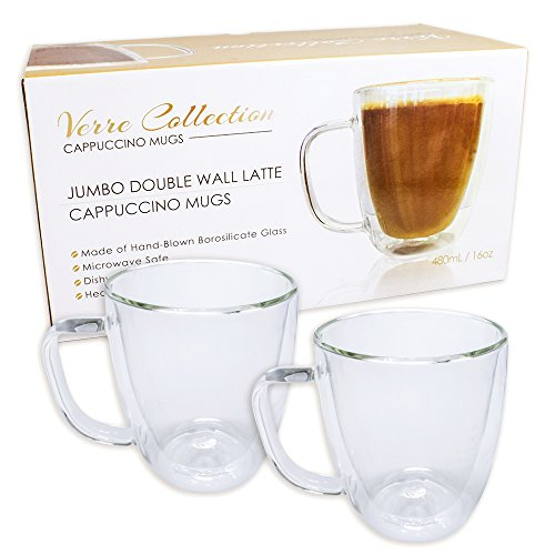 Double Wall Glass Espresso Latte Cappuccino Mug, Coffee Cup | Set of 2 (2, 16.0 oz) Collection Coffee Cup