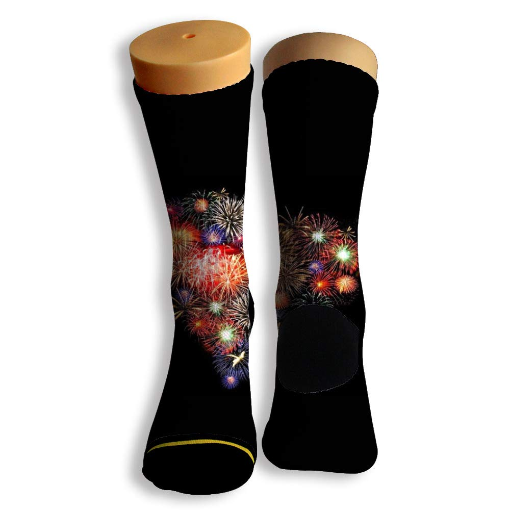 Basketball Soccer Baseball Socks by Potooy Fireworks of Love 3D Print Cushion Athletic Crew Socks for Men Women