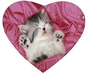 Cat Nonskid Heart Shaped Mouse Pad - The Cat Sleeps Like a Baby