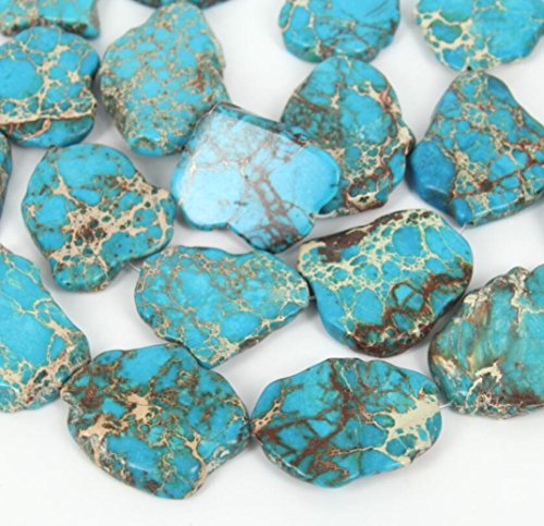 (10pcs Natural Turquoise Blue Sea Sediment Regalite Jasper Smooth Free Form Gemstone Nugget Loose Stone Beads ~ 15-45mm GX7)