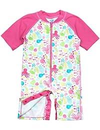 i play. Toddler Girls One-Piece Swim Sunsuit, White Sea Pals, 3T