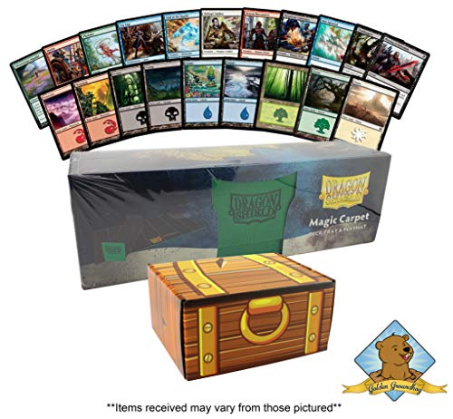 (1000 Assorted Magic: The Gathering Card Cube Collection Lot - Featuring 200 Lands - 800 Common/Uncommon Cards! 1 Dragon Shield Deck Tray & Playmat For Protection! Comes in Golden Groundhog Treasure Ch)
