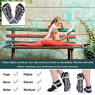 Amazon.com : Muezna Non Slip Yoga Socks for Women, Anti-Skid Pilates, Barre, Bikram Fitness Socks with Grips, Size 5-10 : Clothing