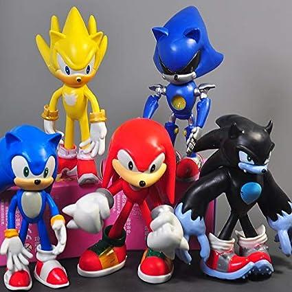 YUNMEI Figura de Sonic 5 unids/Lote Super Sonic The Hedgehog Figura de acción Knuffel Amy Tails Metal Sonic PVC Figura Modelo muñeca niños Pastel figurita Modelo Juguetes