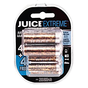 Juice Extreme Replay 1500 Cycle 4-AA PLUS 4-AAA Ni-MH Pre-Charged Rechargeable Hybrid Batteries (8-Pack) - Special Edition Camouflage JERHC212B244 - Camo
