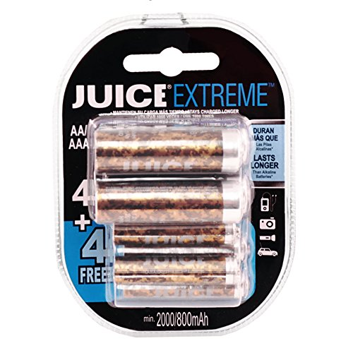 Juice Extreme Replay 1500 Cycle 4-AA PLUS 4-AAA Ni-MH Pre-Charged Rechargeable Hybrid Batteries (8-Pack) - Special Edition Camouflage JERHC212B244 - Camo by JUICE