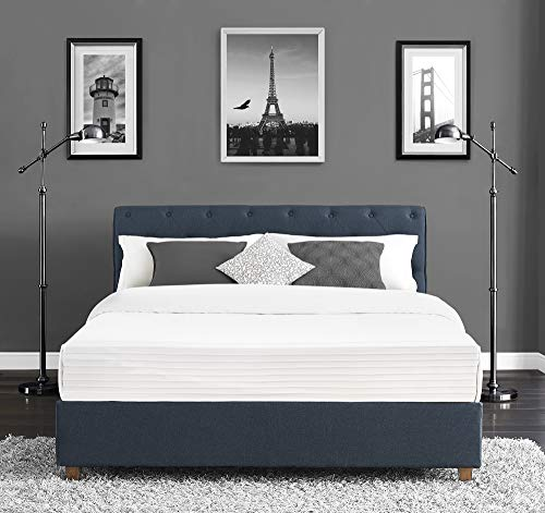 DHP Carmela Luxurious Upholstered Linen Platform Bed wih Wooden Slat Support, Button Tufted Headboard, Queen Size - Blue Linen