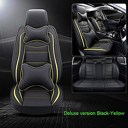 Luxurious Black-White Luxury Leather Auto Car Seat Covers 5 Seats Full Set Universal Fit