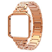 For Fitbit Blaze Bands, Wearlizer Rhinestone Metal Wristband Replacement with Frame, Bling Bracelet for Fitbit Blaze