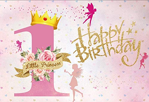 (LFEEY 7x5ft Girl First Birthday Photography Backdrops Sweet Pink Little Princess One Year Happy Birthday Party Photo Background Photo Booth Props )