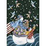 Toland Home Garden American Snowman 12.5 x 18 Inch Decorative Patriotic Winter Snow USA Star Stripe Garden Flag