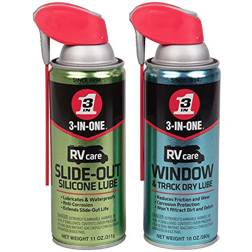 3 in One RVcare Slide Out Silicone-11 Ounce and RV Care Window -Track Dry Lube