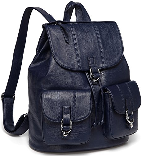 omen,VASCHY Fashion Faux Leather Buckle FlapDrawstring Backpack for College with Two Front Pockets Navy ()