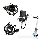 Ohuhu Anti Vibration Suspension Microphone Shock Mount Holder For 42mm-45mm Diameter Condenser Mic(Black)