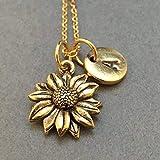 Sunflower necklace, sunflower charm, flower necklace, personalized necklace, initial necklace, initial charm, monogram