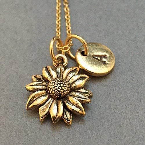 Sunflower necklace, sunflower charm, flower necklace, personalized necklace, initial necklace, initial charm, monogram ()