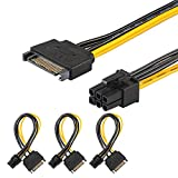 [3 Pack] J&D SATA 15 Pin to 6 Pin PCI Express (PCIe) Graphics Video Card Power Cable Adapter (8 Inch)