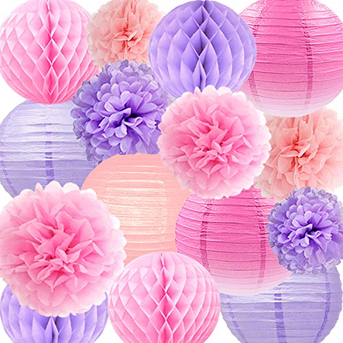 NICROLANDEE Spring Wedding Decorations Pink and Purple Tissue Pom Poms Hanging Round Paper Lanterns Honeycomb Ball for Bridal Shower Birthday Baby Shower Home Decor Valentines Decorations ()
