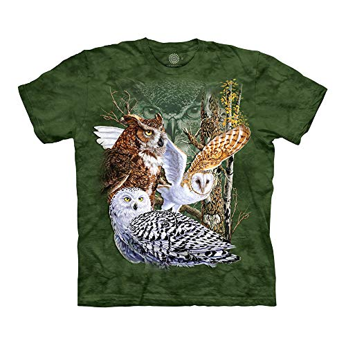 (The Mountain Find 11 Owls Adult T-Shirt, Green, Large )