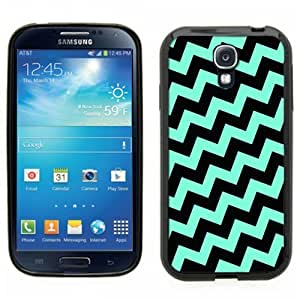 Pink Ladoo? Samsung Galaxy S4 Black Case - Teal Baby Blue and Black Crooked Chevron