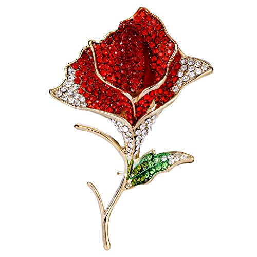 EVER FAITH Women's Austrian Crystal Enamel Blooming Rose Flower Bud Leaf Brooch Gold Tone