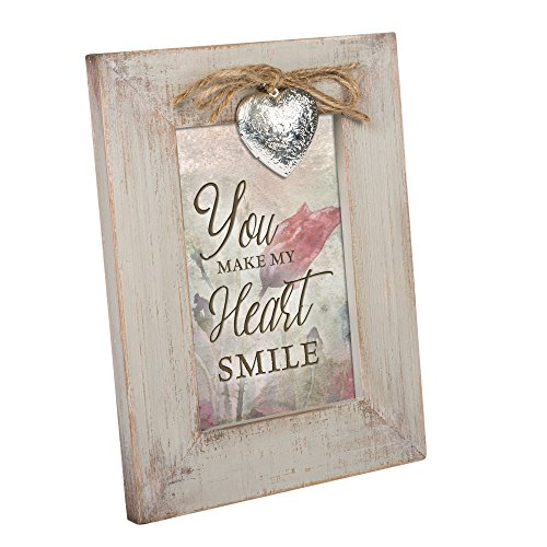 Cottage Garden You Make My Heart Smile Natural Taupe Locket Easel Back Picture Frame