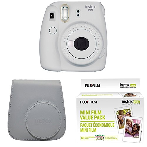 Fujifilm Instax Mini 9 Instant Camera with Instax Groovy Camera Case (Smokey White) & Instax Mini Instant Film Value Pack