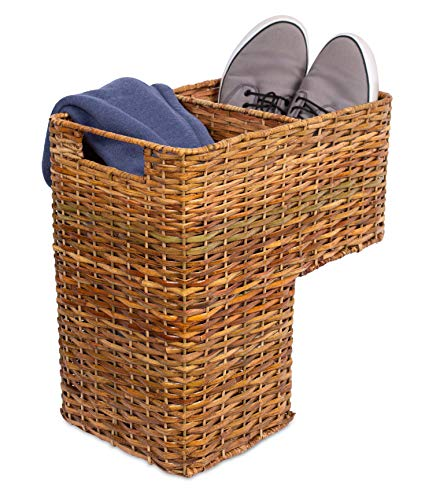 BirdRock Home Stair Basket for Staircases - Wicker Woven Storage Bin for Stairs - Natural Brown Organizer Baskets - Cut Out Handles - Reduce Clutter