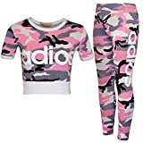 Girls Kids Adios Camouflage Print Army Crop Top & Bottoms Leggings Tracksuit Suit Age 2-13 Years (11-12 Years, Pink)