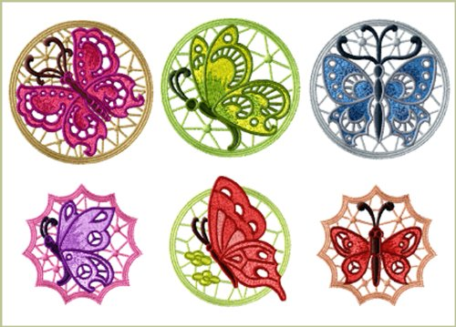 (ABC Machine Embroidery Designs Set - Butterfly Lace Medallions - 6 Embroidery Designs - CD)