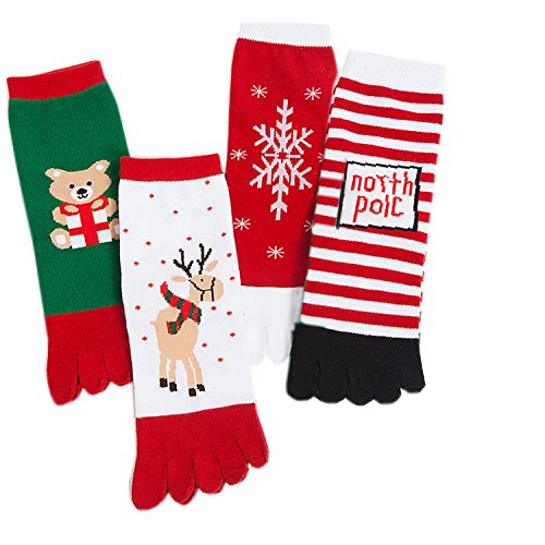 Deer Mum Women Five Finger Christmas Gift Ankle Toe Socks (set 2)