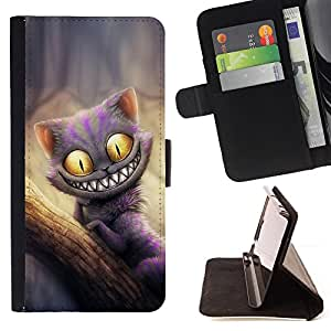 For Samsung GALAXY E5/E500F Case,Samsung Galaxy E5 Friendly Monster Cat Style PU Leather Case Wallet Flip Stand Flap Closure Cover