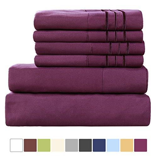 EASELAND 6-Pieces 1800 Thread Count Microfiber Bed sheet Set-Wrinkle & Fade Resistant,Deep Pocket,Hypoallergenic Bedding set,King,Purple