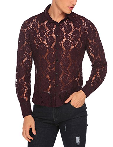 Coofandy Men's See Through Sexy Lace Mesh Long Sleeve Slim Fit Shirt,X-Large,Red