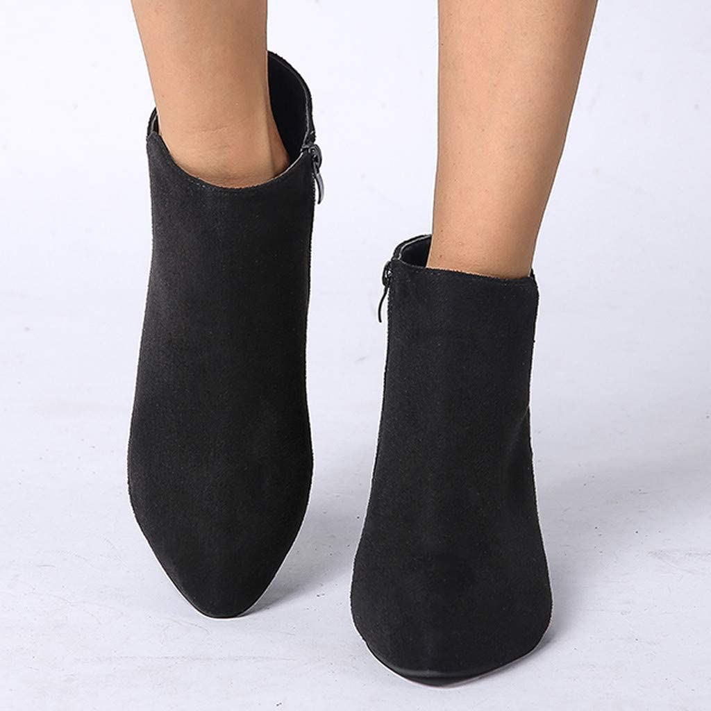 BIKETAFUWY Womens Ankle Boots Round Toe Leopard Snakeskin Print Shoes Zipper High Stiletto Heel Pumps Work Office Booties