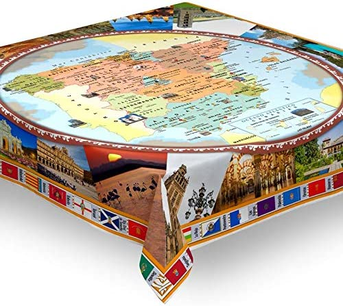 Hulehome Mantel Digital de Mesa Antimanchas Mapa españa 140x140 cm ...