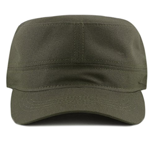 The Hat Depot Made in USA Cotton Twill Military Caps Cadet Army Caps (Olive)