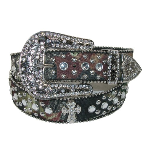 CTM Women's Western Rhinestone Cross on Mossy Oak - Ladies Western Accessories