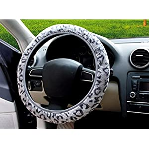 Gray Color Soft Warm Cover Golden Cheetah Steering Wheel Cover Automotive Supplies Anti-Slip Car Steering Wheel Cover