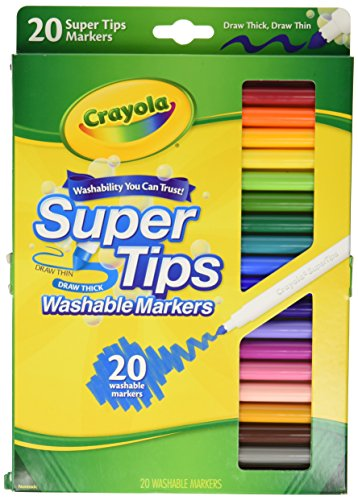 Crayola 20 Ct Super Tips Washable Markers (Fine Washable Markers Tip)