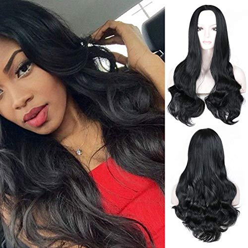 26 inch Wigs Black Wigs Long Wavy Middle Parted Wig For Women Half Hand Tied Heat Resistant Natural Black Wig For Women (Free Wig Cap)